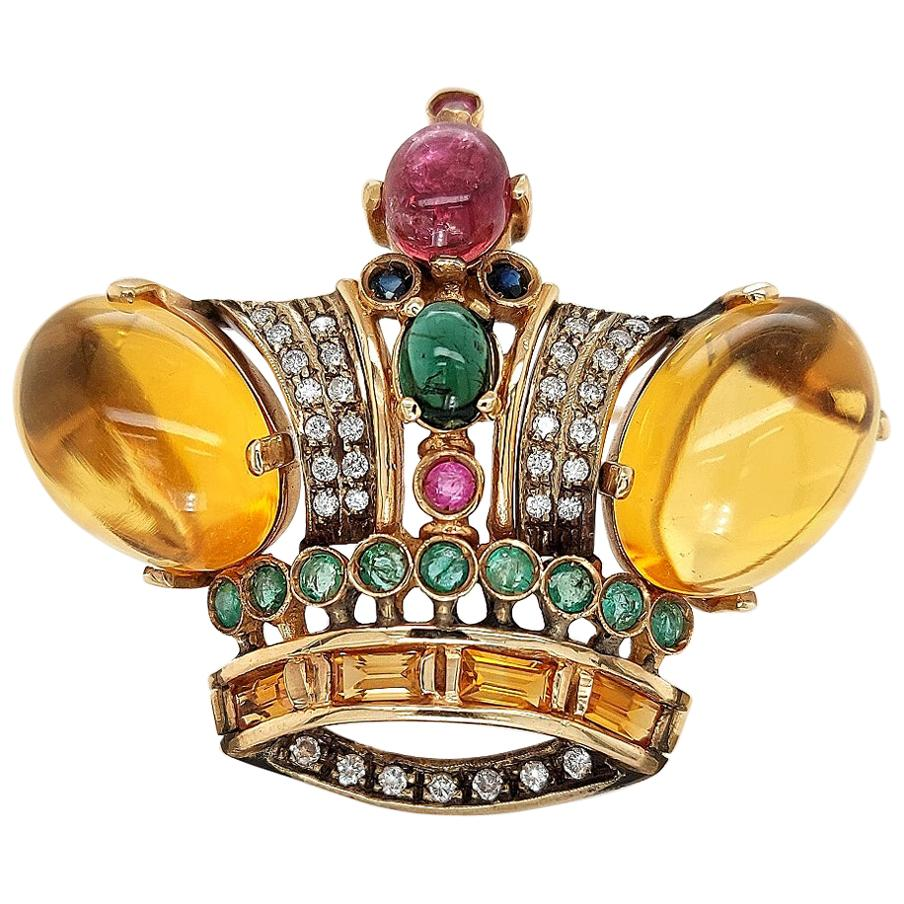 18 Karat Yellow gold Crown Brooch / Pendant with Precious Stones and Diamonds