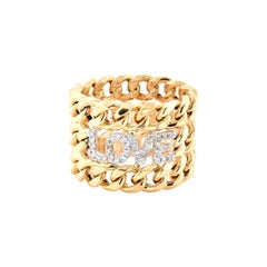 18 Karat Yellow Gold Cuban Link Diamond Love Three Row Ring