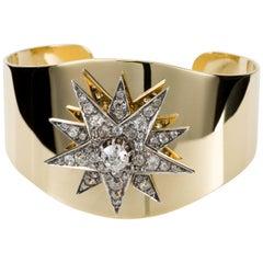 18 Karat Yellow Gold Cuff and 3.10 Carat Diamond Set Victorian Star Motif Cuff