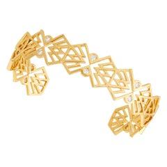 18 Karat Yellow Gold Cuff Bracelet with Diamonds