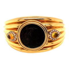 18 Karat Yellow Gold Cuff Bracelet with Roman Coin, Diamond, and Citrine