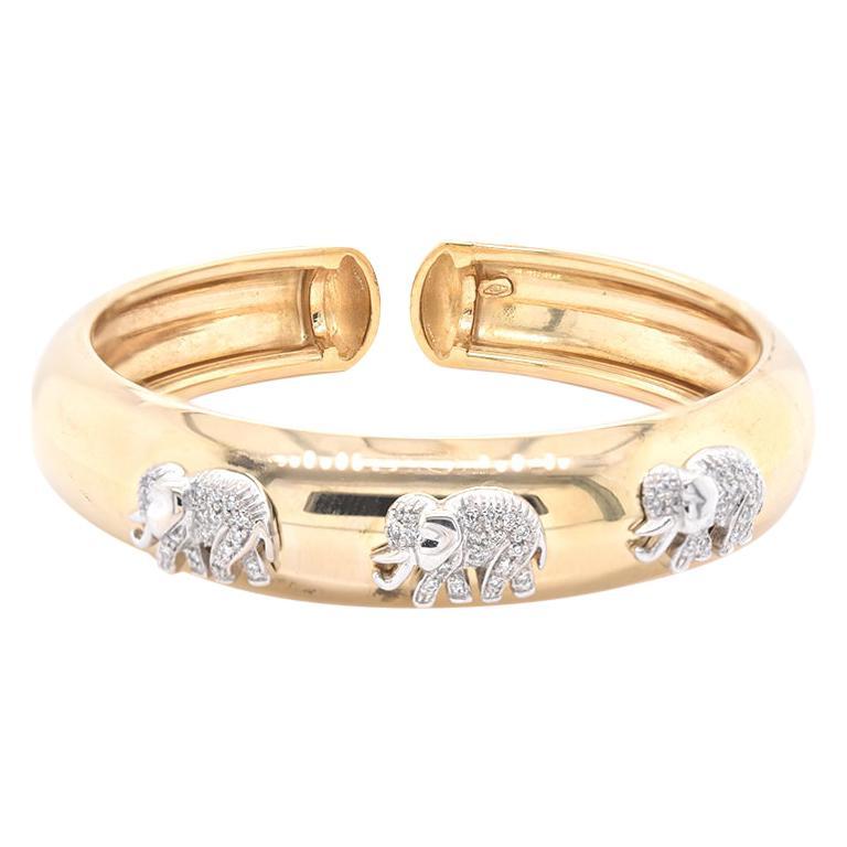 18 Karat Yellow Gold Cuff with Diamond Elephants For Sale
