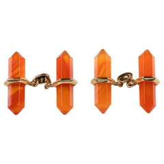 18 Karat Yellow Gold Cufflinks Carnelian