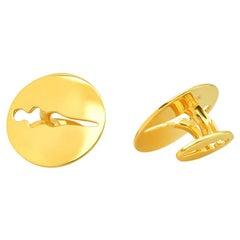 """FARBOD 18 Karat Yellow Gold Cufflinks """"Coin"""" 'Unisex'"""