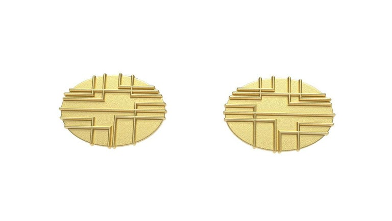 18k Yellow 90 Degrees Cufflinks  Lines at 90*  CK-013 , Inspired from a rectangle design I made years ago. Architecture and Asymmetry combined for  simple lines. Offered in matte gold finish. These are made to order . Please allow 4 weeks delivery.