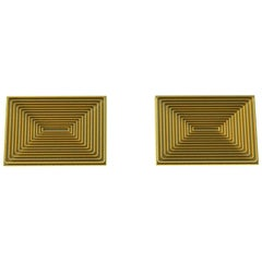 18 Karat Yellow Gold Optical Art Cufflinks