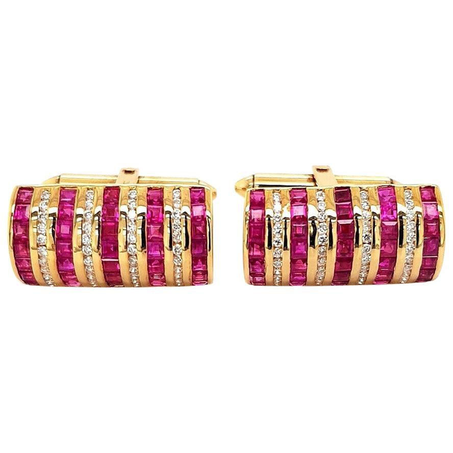 18 Karat Yellow Gold Cufflinks with Rubies and Diamonds