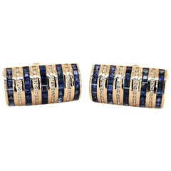 18 Karat Yellow Gold Cufflinks with Sapphires and Diamonds Stunning