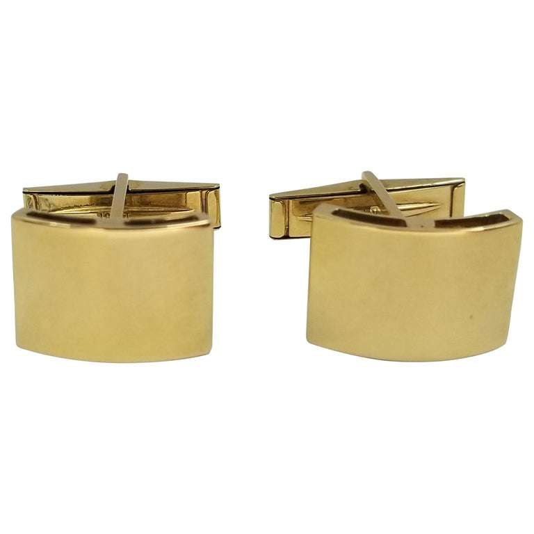 18 Karat Yellow Gold Curved Engravable Cufflinks For Sale
