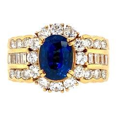 18 Karat Yellow Gold Custom Made Diamond & Blue Sapphire Ring