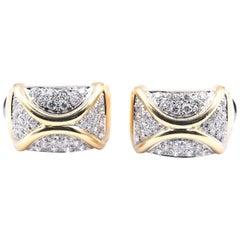18 Karat Yellow Gold Custom Pave Set Diamond X Earrings