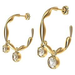 18 Karat Yellow Gold Dangle GIA Diamond Earring Hoops