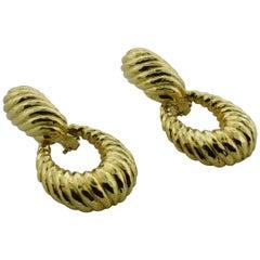 18 Karat Yellow Gold Dangling Door Knocker Convertible Earrings