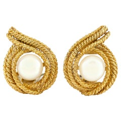 18 Karat Yellow Gold David Webb with Pearl Earrings