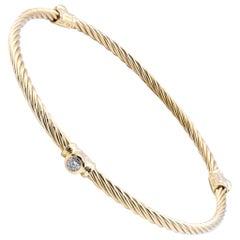 18 Karat Yellow Gold David Yurman Diamond Cable Bangle Bracelet
