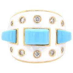 18 Karat Yellow Gold Deco Style White Enamel, Turquoise, and Diamond Ring