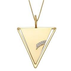 18 Karat Yellow Gold Deco Triangle Pendant