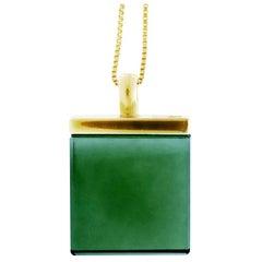18 Karat Yellow Gold Designer Pendant with Green Quartz, Featured in Vogue UA