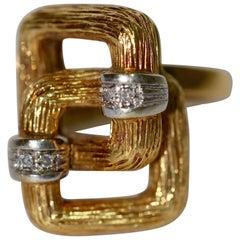 18 Karat Yellow Gold, Designer Ring Set with Small Diamonds