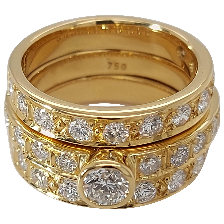 18 Karat Yellow Gold Detachable Diamond Ring and Engagement Ring