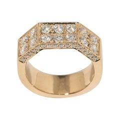 18 Karat Yellow Gold Deux Double Half-Octagon Diamond Pinky Ring