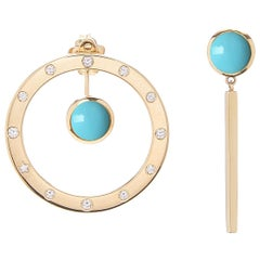 18 Karat Yellow Gold, Diamond 0.22 Carat, Turquoise Cabochon Earrings