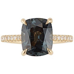 18 Karat Yellow Gold Diamond 3 Carat Cushion Cut Smoky Teal Spinel Ring