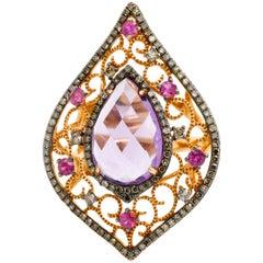 18 Karat Yellow Gold Diamond 4.97 Carat Pear Shape Amethyst Cocktail Ring