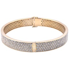 18 Karat Yellow Gold Diamond 5-Row Eternity Bangle