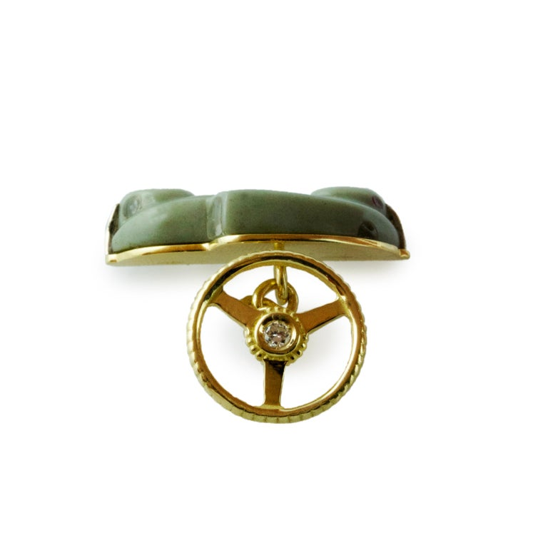 18 Karat Yellow Gold Diamond Agate Onyx Car Cufflinks In New Condition For Sale In Milano, IT