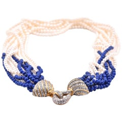 18 Karat Yellow Gold Diamond Akoya Seed Pearl and Lapis Multi Strand Necklace