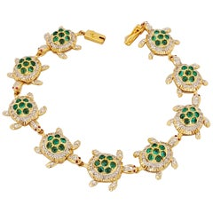 18 Karat Yellow Gold Diamond and 4.98 Carat Emerald Turtle Link Bracelet