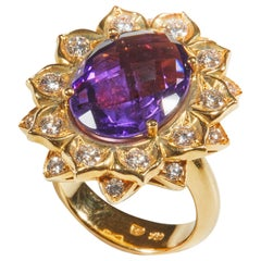 18 Karat Yellow Gold Diamond and Amethyst Coktail Ring