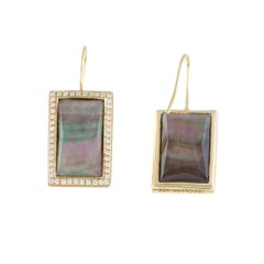 18 Karat Yellow Gold Diamond and Black Mother of Pearl Rectangular Earrings