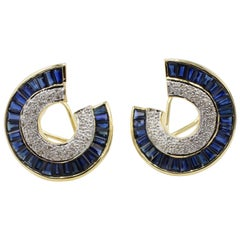 18 Karat Yellow Gold Diamond and Blue Sapphire Earrings