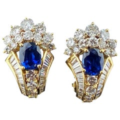 18 Karat Yellow Gold Diamond and Blue Sapphire Earrings