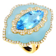18 Karat Yellow Gold Diamond and Blue Topaz Gemstone Ring