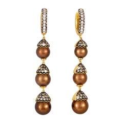 18 Karat Yellow Gold Diamond and Brown Pearl Drop Earrings