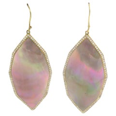 18 Karat Yellow Gold Diamond and Carved Mother of Pearl Ippolita Earrings