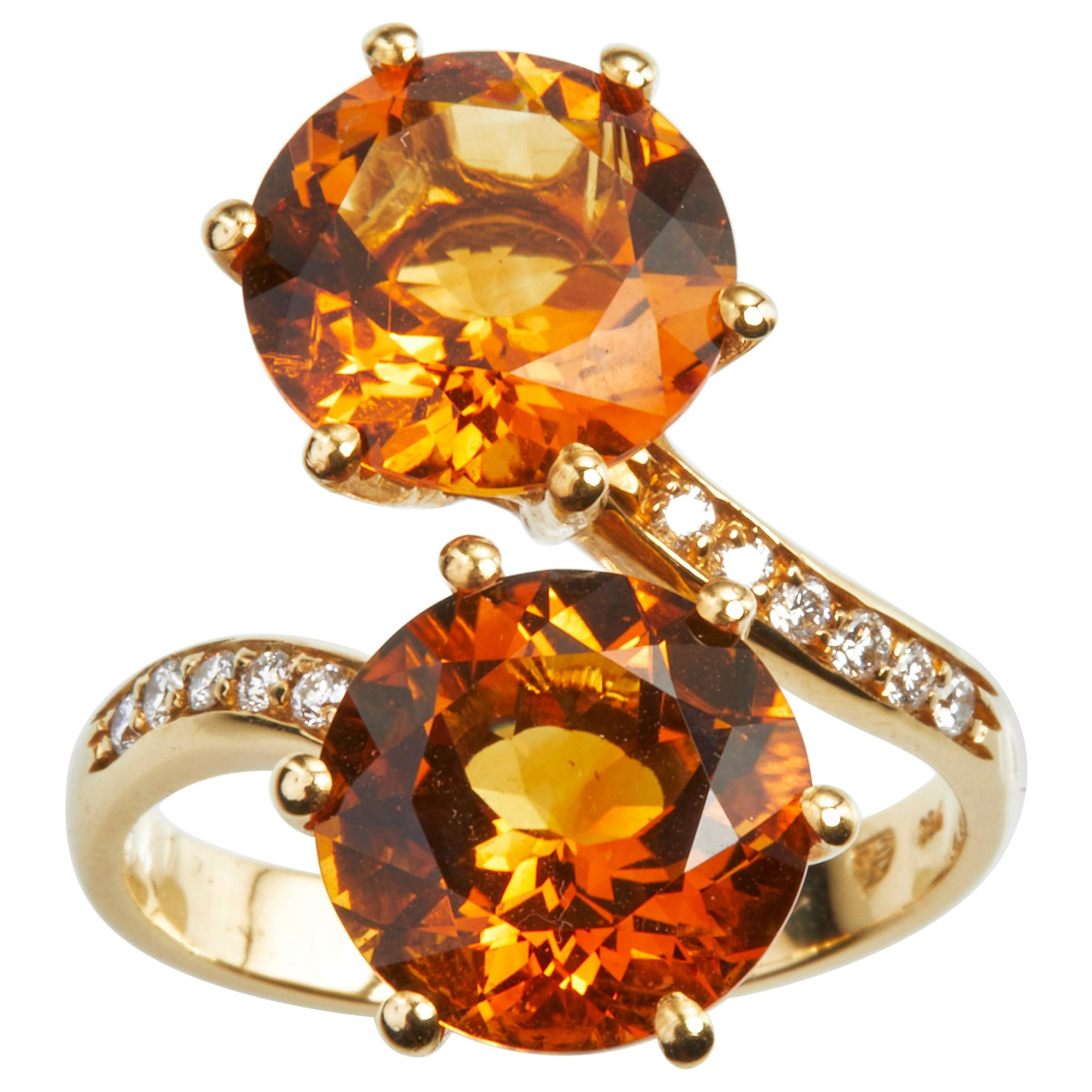 18 Karat Yellow Gold Diamond and Citrine Cocktail Ring
