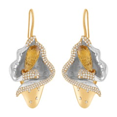 18 Karat Yellow Gold Diamond and Citrine Earrings