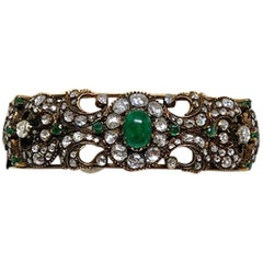 18 Karat Yellow Gold Diamond and Emerald Bracelet