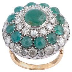18 Karat Yellow Gold Diamond and Emerald Cluster Ring