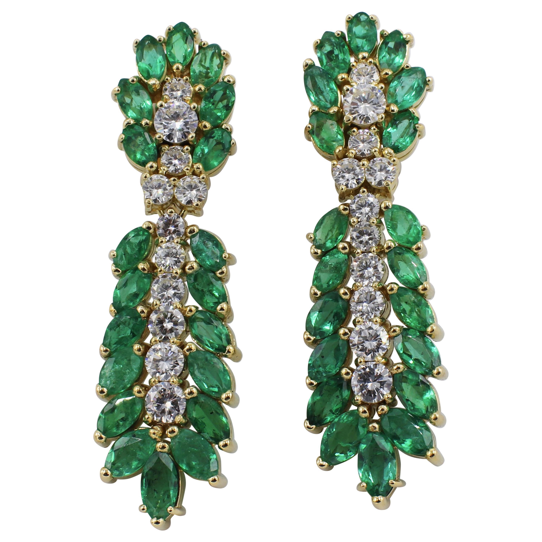 18 Karat Yellow Gold Diamond and Emerald Dangle Drop Earrings
