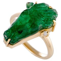 18 Karat Yellow Gold Diamond and Emerald Intaglio Horse Head Ring
