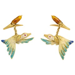 18 Karat Yellow Gold Enamel Duck and Reed Cufflinks with Diamond and Ruby