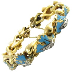 18 Karat Yellow Gold, Diamond and Enamel Bracelet