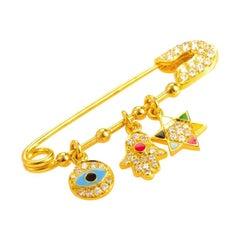 18 Karat Yellow Gold Diamond and Enamel Judaic Charms Safety Pin