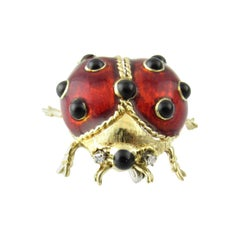 18 Karat Yellow Gold, Diamond and Enamel Lady Bug Pin or Crutch