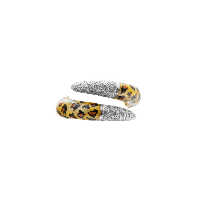 Modern 18 Karat Yellow Gold Diamond and Enamel Ring For Sale